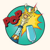 Pop sound of opening champagne. Art retro comic book illustration Stock Photo