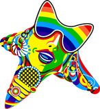 Pop Star. Abstract pop star with rainbow reflection on sun glasses. Designed for t-shirt printing and other needs. Vector Stock Image