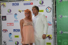 The pop star Anastasia Stotskaya with her husband. The photograph was taken at the international competition of young singers New Wave 2010 Dzintari Concert Hall Royalty Free Stock Photography