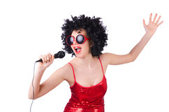 Pop star with mic Royalty Free Stock Image