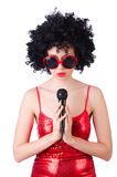 Pop star with mic Stock Photos