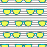 Pop sunglasses retro seamless pattern in neon yellow and blue. Pop sunglasses retro seamless vector pattern in neon yellow and blue colors. Hipster eyewear on Royalty Free Stock Images