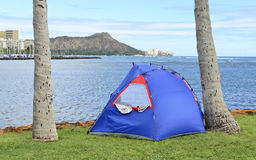 Pop Tent on Magic Island, Oahu, Hawaii Stock Photo