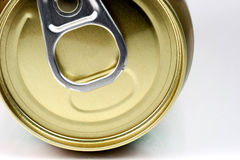 Pop Top. Extreme close-up of pop top can of soda against white background Stock Photo