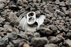Pop top can in gravel Stock Image