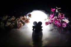 Pop twee die op lijst met bloemen en maandecoratie koesteren stak achtergrond met rook aan Het concept van de liefde Groet of gif Royalty-vrije Stock Fotografie