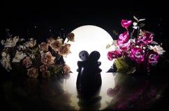 Pop twee die op lijst met bloemen en maandecoratie koesteren stak achtergrond met rook aan Het concept van de liefde Groet of gif Royalty-vrije Stock Afbeeldingen