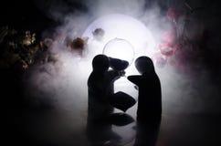 Pop twee die op lijst met bloemen en maandecoratie koesteren stak achtergrond met rook aan Het concept van de liefde Groet of gif Stock Foto's