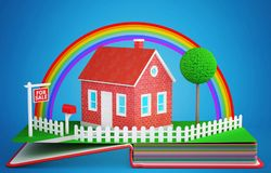 Pop up book with a brick house for sale. 3D rendering Royalty Free Stock Photos