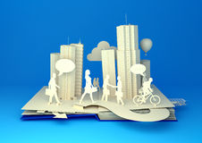 Pop-Up Book - Busy City Life. Pop-Up Book - City Lifestyle. Styled 3D pop-up book city with busy urban city people going about their business Stock Image