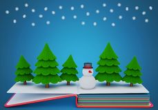 Pop up book with a felt snowman and fir trees. 3D rendering Stock Photography