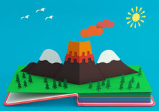 Pop Up Book With Mountainous Landscape And Active Volcano. 3D Rendering Royalty Free Stock Images