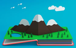 Pop Up Book With Mountainous Landscape. 3D Rendering Royalty Free Stock Photo