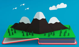 Pop Up Book With Mountainous Landscape. 3D Rendering Stock Photos