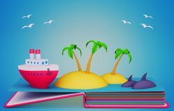 Pop up book with paper models of the ship and tropical islands. 3D rendering Royalty Free Stock Photos