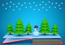 Pop up book with a paper snowman and fir trees stock illustration