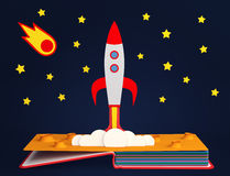 Pop up book with rocket launch Stock Photo