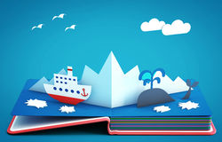 Pop up book with steamboat among icebergs and ice floes Royalty Free Stock Image