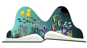 Pop-up book with underwater scenery Royalty Free Stock Photos