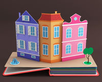 Pop-up book with vintage street Royalty Free Stock Photography