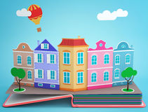 Pop-up book with vintage street. Pop up book with vintage street. 3D rendering vector illustration