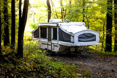 Pop-up Camper. Outside in forest stock photography