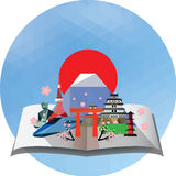 Pop up card travel to Japan stock photo