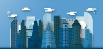 Pop up design of urban buildings and future city with blue sky a. Nd cloud. Vector illustration with flat city in paper cut style. Trend of landmark for downtown vector illustration