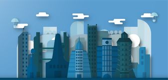 Pop up design of urban buildings and future city with blue sky a. Nd cloud. Vector illustration with flat city in paper cut style. Trend of landmark for downtown royalty free illustration
