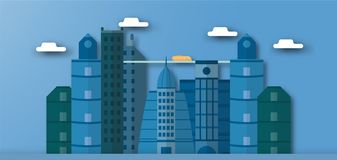 Pop up design of urban buildings and future town with blue sky a. Nd cloud. Vector illustration with flat city in paper cut style. Trend of landmark for downtown stock illustration