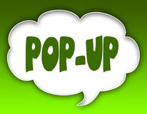 POP UP message on speech cloud graphic. Green background. Illustration Royalty Free Stock Photography