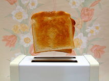 Pop-Up Toast. Golden slices of toast apparently leaping from a pop-up toaster Stock Image