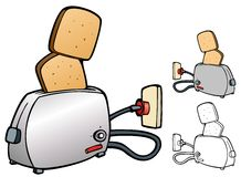Pop up toaster and toast Stock Photo
