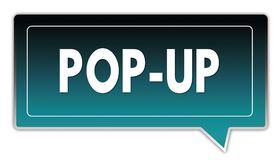 POP UP on turquoise to black gradient square speech bubble. Illustrations Stock Images