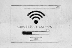 Pop-up with wi-fi connection establishing and progress bar Stock Photos