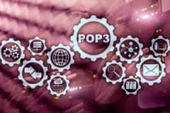 POP3 Urz?du Pocztowego protoko?u wersja 3 Standardowy internet protocol na datacenter tle zdjęcia royalty free
