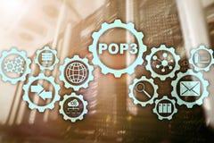 POP3 Urz?du Pocztowego protoko?u wersja 3 Standardowy internet protocol na datacenter tle royalty ilustracja