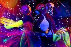 Pop van de disco vrouwelijke cyber van het gloed de uvneon sexy Stock Afbeelding