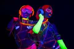 Pop van de disco vrouwelijke cyber van het gloed de uvneon sexy Stock Afbeeldingen