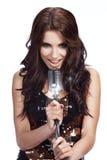Pop vrouwelijke zanger met retro mic Royalty-vrije Stock Fotografie