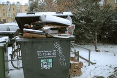 Pop waste not been removed due o snow falls weather royalty free stock photo