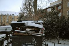 Pop waste not been removed due o snow falls weather royalty free stock photography