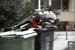 Pop waste not been removed due o snow falls weather stock images
