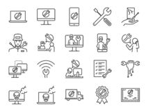 IT poparcia ikony set Zawrzeć ikony jako techniki poparcie, technik, łamający komputer, wisząca ozdoba, techniczny centrum pomocy fotografia royalty free
