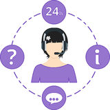 Poparcie kobieta - purpury barwią, usługowe ikony i słuchawki Fotografia Royalty Free