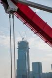 Poparcie wyginająca się stalowa stropnica Chongqing Chaotianmen jangcy most Obraz Stock