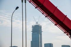 Poparcie wyginająca się stalowa stropnica Chongqing Chaotianmen jangcy most Fotografia Stock