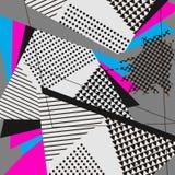 PopArt Abstract Geometric Collage Blue magentafärgad modell Arkivbilder