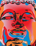 Popart Buddha. Editable  illustration of a Buddha statue's face in popart color style Royalty Free Stock Images