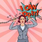 PopArt Business Woman Breaking Metal kedja stark kvinna royaltyfri illustrationer